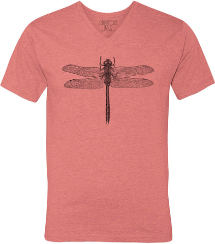 Austin Ink Apparel Wild Dragonfly Unisex Soft Jersey Short Sleeve V-Neck T-Shirt
