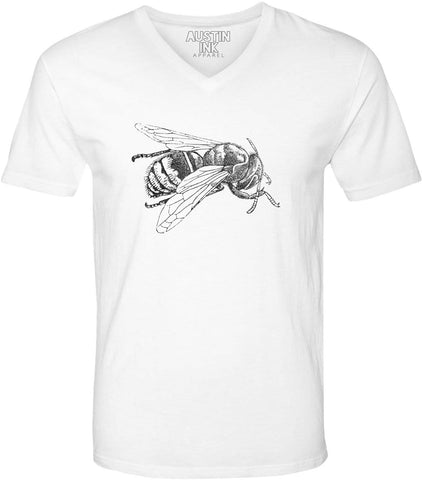 Austin Ink Apparel Wasp Etching Unisex Soft Jersey Short Sleeve V-Neck T-Shirt