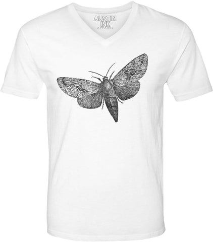 Austin Ink Apparel Wood Borer Moth Unisex Soft Jersey Short Sleeve V-Neck T-Shirt