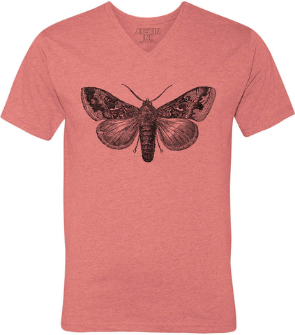 Austin Ink Apparel Vintage Moth Unisex Soft Jersey Short Sleeve V-Neck T-Shirt
