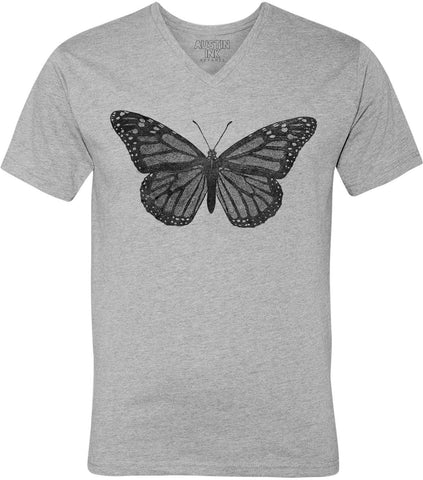 Austin Ink Apparel Vintage Butterfly Unisex Soft Jersey Short Sleeve V-Neck T-Shirt