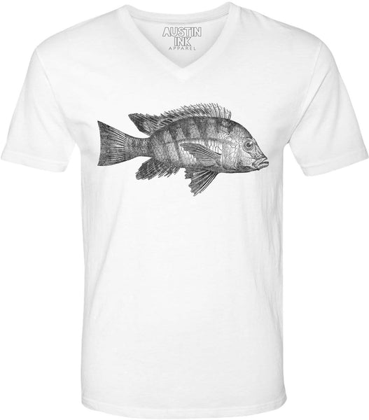 Austin Ink Apparel Atlantic Fish Unisex Soft Jersey Short Sleeve V-Neck T-Shirt
