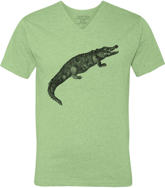 Printed In The Usa Austin Ink Apparel Toothy Alligator Unisex Soft Jersey Short Sleeve V Neck T Shirtin Color Heather Green Size Extra Extra Large