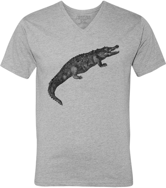 Printed In The Usa Austin Ink Apparel Toothy Alligator Unisex Soft Jersey Short Sleeve V Neck T Shirtin Color Heather Green Size Large