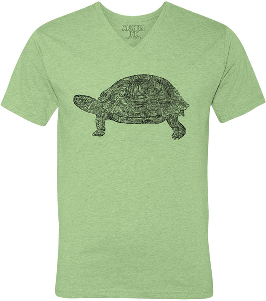 Printed In The Usa Austin Ink Apparel Tortoise Drawing Unisex Soft Jersey Short Sleeve V Neck T Shirtin Color Heather Green Size Extra Extra Large