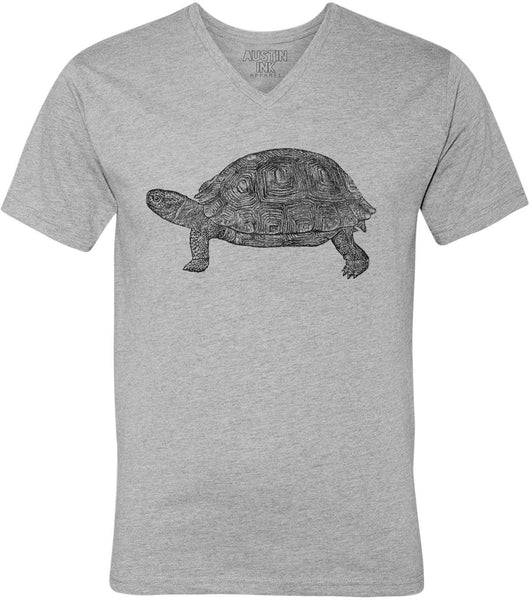 Printed In The Usa Austin Ink Apparel Tortoise Drawing Unisex Soft Jersey Short Sleeve V Neck T Shirtin Color Heather Grey Size Extra Extra Large