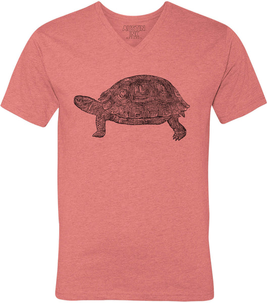 Printed In The Usa Austin Ink Apparel Tortoise Drawing Unisex Soft Jersey Short Sleeve V Neck T Shirtin Color Heather Red Size Extra Extra Large