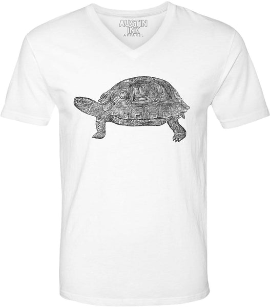 Printed In The Usa Austin Ink Apparel Tortoise Drawing Unisex Soft Jersey Short Sleeve V Neck T Shirtin Color White Size Extra Extra Large