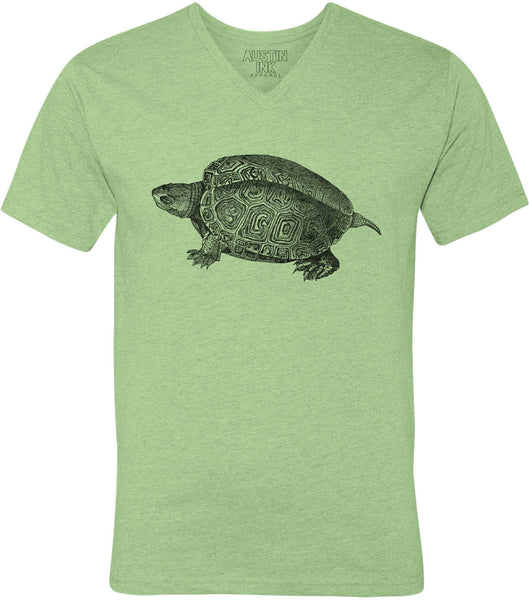 Printed In The Usa Austin Ink Apparel Turtle Illustration Unisex Soft Jersey Short Sleeve V Neck T Shirtin Color Heather Green Size Small