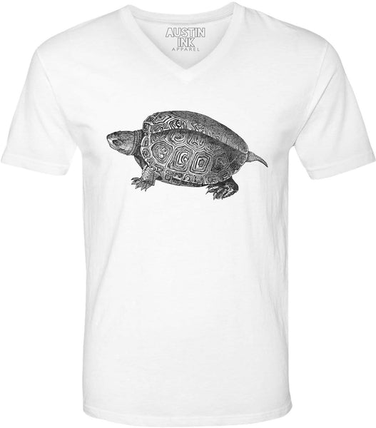Printed In The Usa Austin Ink Apparel Turtle Illustration Unisex Soft Jersey Short Sleeve V Neck T Shirtin Color Heather Green Size Medium