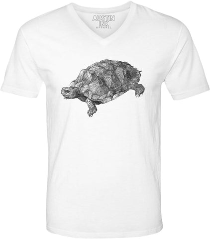 Austin Ink Apparel Wood Turtle Illustration Unisex Soft Jersey Short Sleeve V-Neck T-Shirt