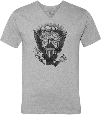 Austin Ink Apparel Vintage Eagle Shield Unisex Soft Jersey Short Sleeve V-Neck T-Shirt