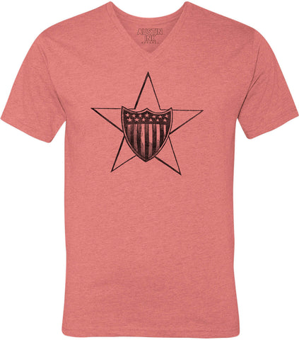 Austin Ink Apparel USA Shield over Star Unisex Soft Jersey Short Sleeve V-Neck T-Shirt