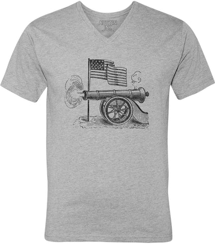 Austin Ink Apparel USA Flag and Cannon Unisex Soft Jersey Short Sleeve V-Neck T-Shirt
