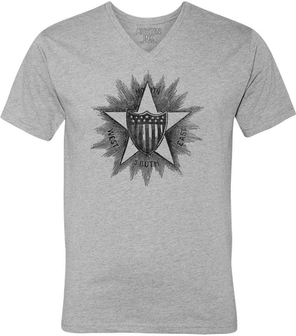 Austin Ink Apparel USA Shield Compass Unisex Soft Jersey Short Sleeve V-Neck T-Shirt