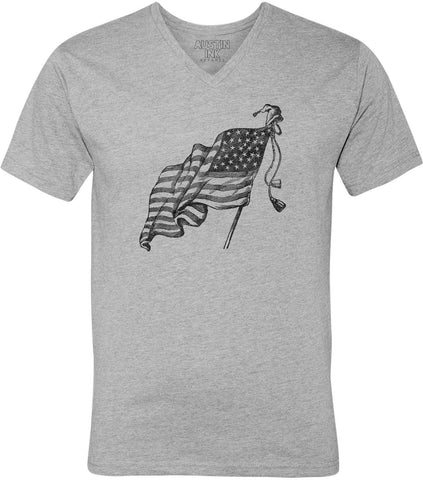 Austin Ink Apparel US Flag with Small Hat Unisex Soft Jersey Short Sleeve V-Neck T-Shirt