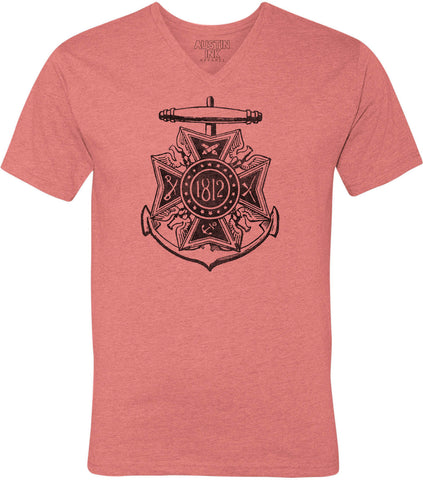 Austin Ink Apparel War Of 1812 Emblem Unisex Soft Jersey Short Sleeve V-Neck T-Shirt