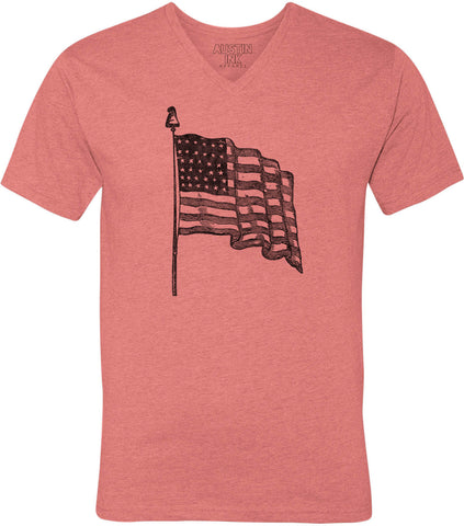 Austin Ink Apparel USA Flag Unisex Soft Jersey Short Sleeve V-Neck T-Shirt