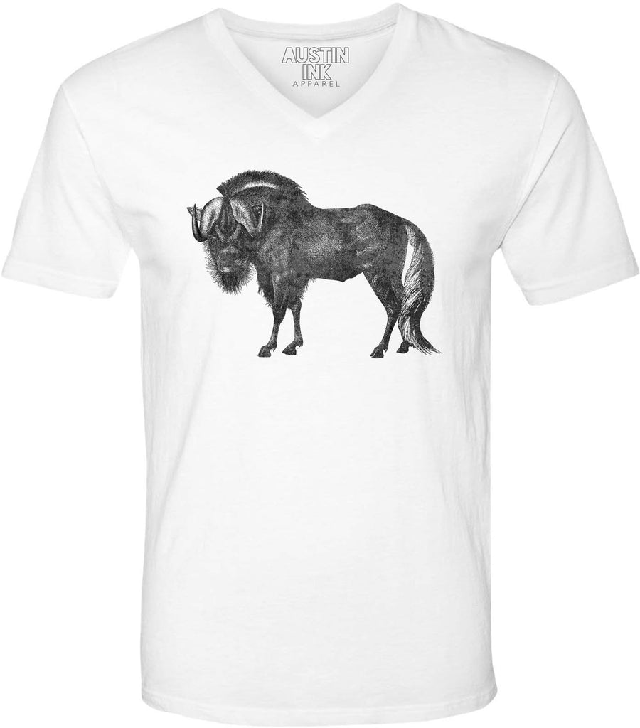 Austin Ink Apparel African Wildebeest Unisex Soft Jersey Short Sleeve V-Neck T-Shirt