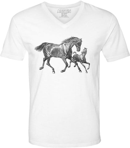 Printed In The Usa Austin Ink Apparel Wild Horses Unisex Soft Jersey Short Sleeve V Neck T Shirtin Color Heather Green Size Extra Extra Large