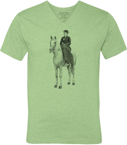 Austin Ink Apparel Woman on Horse Unisex Soft Jersey Short Sleeve V-Neck T-Shirt