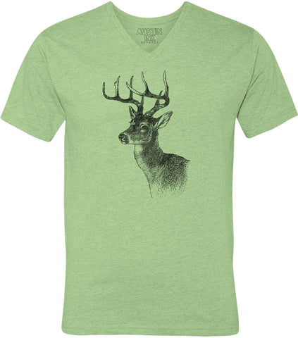 Austin Ink Apparel Whitetailed Deer Unisex Soft Jersey Short Sleeve V-Neck T-Shirt