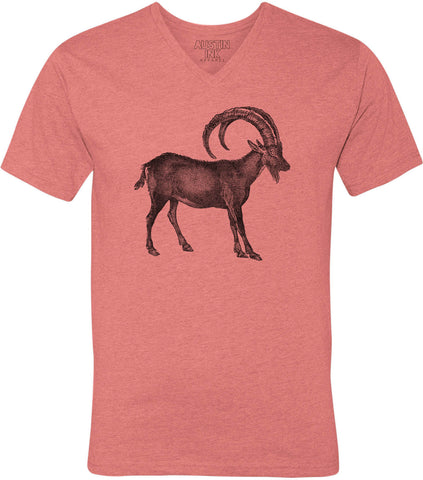 Austin Ink Apparel Wild Goat Unisex Soft Jersey Short Sleeve V-Neck T-Shirt
