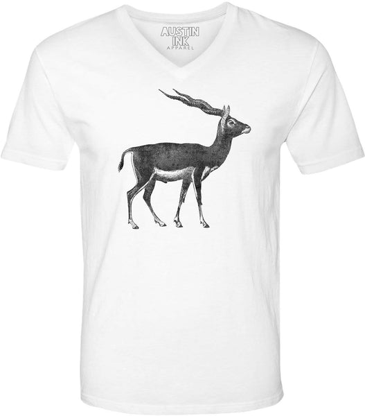 Austin Ink Apparel Antelope Illustration Unisex Soft Jersey Short Sleeve V-Neck T-Shirt