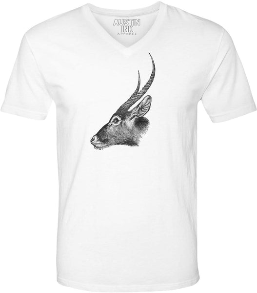 Austin Ink Apparel Antelope Profile Unisex Soft Jersey Short Sleeve V-Neck T-Shirt