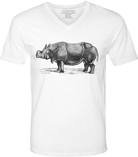 Austin Ink Apparel African Rhinoceros Unisex Soft Jersey Short Sleeve V-Neck T-Shirt