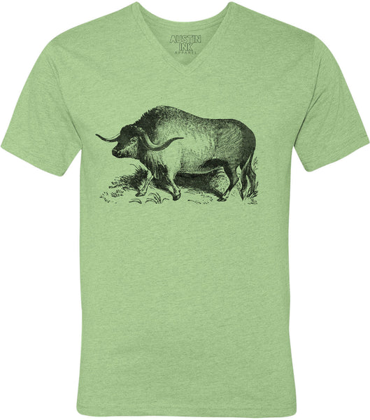 Printed In The Usa Austin Ink Apparel Yak Illustration Unisex Soft Jersey Short Sleeve V Neck T Shirtin Color White Size Extra Extra Large
