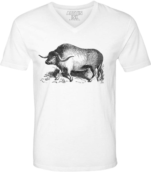 Austin Ink Apparel Yak Illustration Unisex Soft Jersey Short Sleeve V-Neck T-Shirt