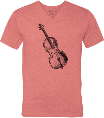 Austin Ink Apparel Vintage Violin Unisex Soft Jersey Short Sleeve V-Neck T-Shirt