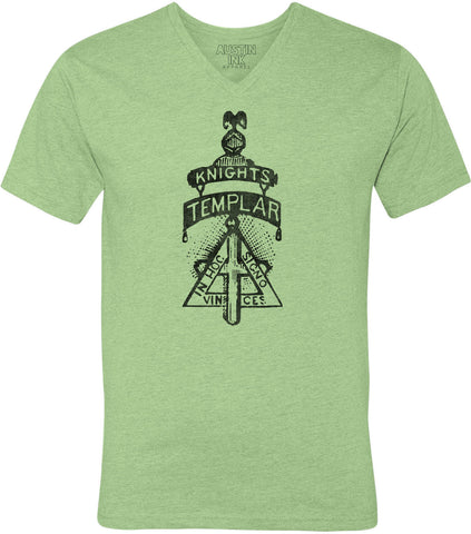 Printed In The Usa Austin Ink Apparel Knights Templar Symbol Unisex Soft Jersey Short Sleeve V Neck T Shirtin Color Heather Green Size Extra Extra Large