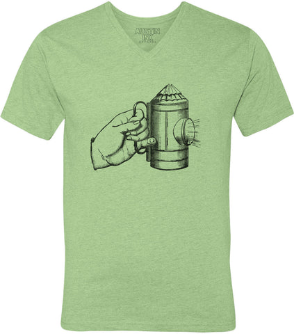Austin Ink Apparel Vintage Gas Lamp Unisex Soft Jersey Short Sleeve V-Neck T-Shirt