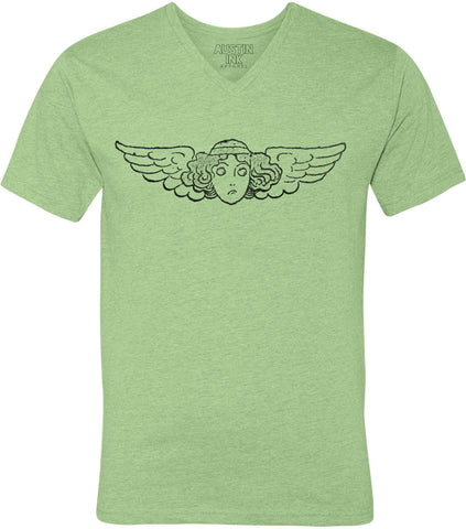 Austin Ink Apparel Winged Face Unisex Soft Jersey Short Sleeve V-Neck T-Shirt