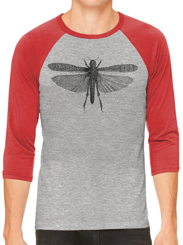Austin Ink Apparel Winged Locust Grey Unisex 3/4 Sleeve Baseball Tee