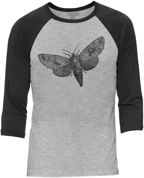Austin Ink Apparel Wood Borer Moth Grey Unisex 3/4 Sleeve Baseball Tee
