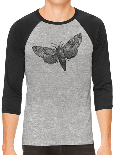 Printed In The Usa Austin Ink Apparel Wood Borer Moth Grey Unisex 3 4 Sleeve Baseball Teein Color Grey With Red Sleeves Size Extra Extra Large