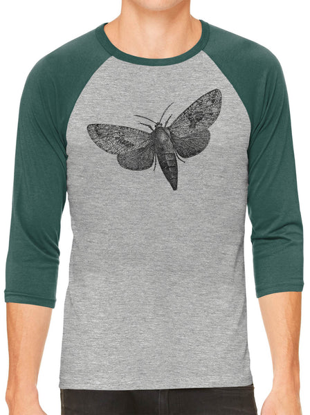 Printed In The Usa Austin Ink Apparel Wood Borer Moth Grey Unisex 3 4 Sleeve Baseball Teein Color Grey With Royal Sleeves Size Extra Extra Large