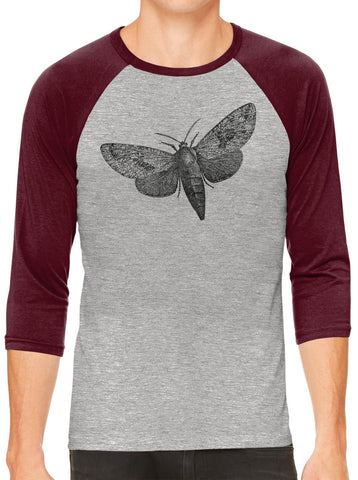 Printed In The Usa Austin Ink Apparel Wood Borer Moth Grey Unisex 3 4 Sleeve Baseball Teein Color Grey With Charcoal Sleeves Size Extra Extra Large