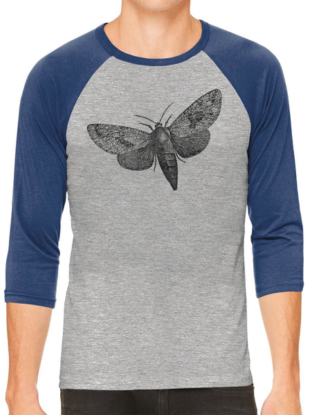 Printed In The Usa Austin Ink Apparel Wood Borer Moth Grey Unisex 3 4 Sleeve Baseball Teein Color Grey With Green Sleeves Size Extra Extra Large