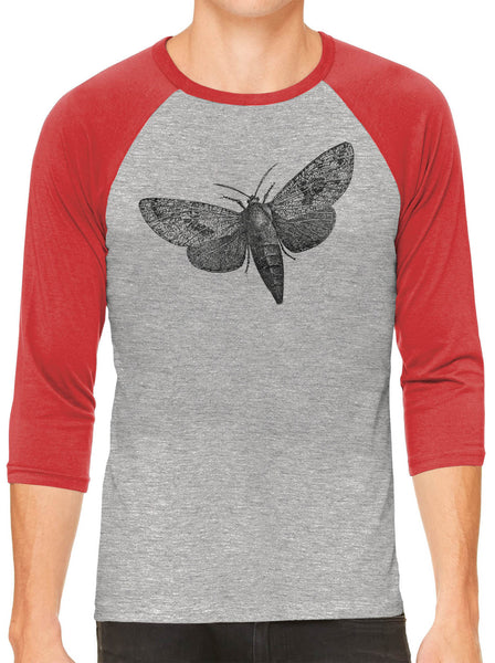 Printed In The Usa Austin Ink Apparel Wood Borer Moth Grey Unisex 3 4 Sleeve Baseball Teein Color Grey With Maroon Sleeves Size Extra Extra Large