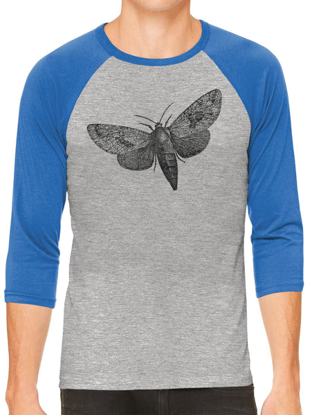 Printed In The Usa Austin Ink Apparel Wood Borer Moth Grey Unisex 3 4 Sleeve Baseball Teein Color Grey With Navy Sleeves Size Extra Extra Large