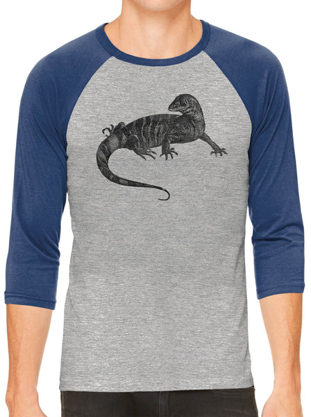 Austin Ink Apparel African Monitor Lizard Grey Unisex 3/4 Sleeve Baseball Tee