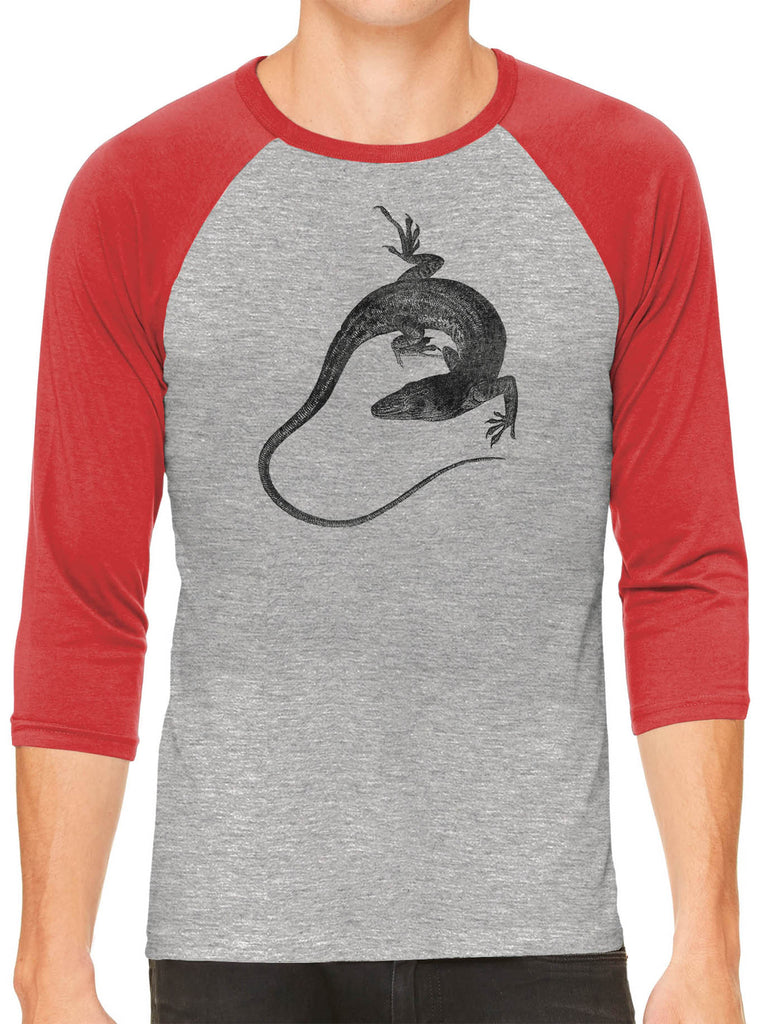 Austin Ink Apparel Anole Lizard Grey Unisex 3/4 Sleeve Baseball Tee