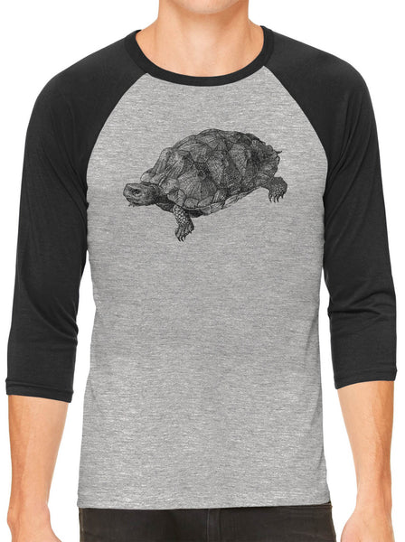 Printed In The Usa Austin Ink Apparel Wood Turtle Illustration Grey Unisex 3 4 Sleeve Baseball Teein Color Grey With Red Sleeves Size Extra Extra Large
