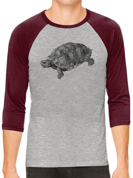 Printed In The Usa Austin Ink Apparel Wood Turtle Illustration Grey Unisex 3 4 Sleeve Baseball Teein Color Grey With Charcoal Sleeves Size Extra Extra Large