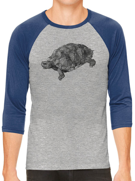 Printed In The Usa Austin Ink Apparel Wood Turtle Illustration Grey Unisex 3 4 Sleeve Baseball Teein Color Grey With Green Sleeves Size Extra Extra Large