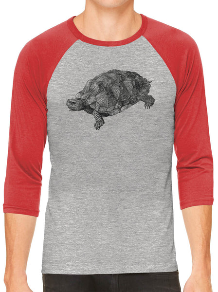 Printed In The Usa Austin Ink Apparel Wood Turtle Illustration Grey Unisex 3 4 Sleeve Baseball Teein Color Grey With Maroon Sleeves Size Extra Extra Large
